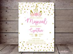 Pink and Gold Invitation Template Inspirational Baby Shower Invitations – Printabell Printable Invitation Templates, Printable Baby Shower Invitations, Baby Shower Printables, Pink And Gold Invitations, Unicorn Invitations, Baby Shower Items, Unicorn Themed Birthday, Unicorn Baby Shower, Bridal Shower Cakes