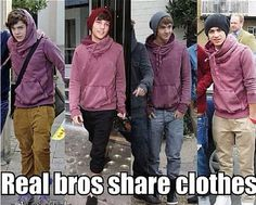 REAL BROS SHARE CLOTHES <3 One Direction, 1D Harry Styles, Niall Horan, Liam Payne, Zayn Malik, Louis Tomlinson, Hazza, Harreh, Nialler, Lou, Tommo .xx