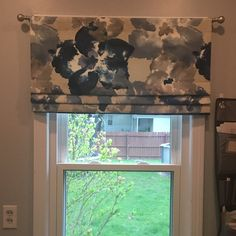 Faux Roman Shade/ Lined Mock Roman Valance/ Fake Roman Shade/ Charcoal-Ivory Ticking Stripe/ Custom Sizing Available! Faux, Kitchen Models, Curtain Decor, Decorative Curtain Rods, Home Decor Fabric, Valance, Custom Curtains, Custom Sizing, Faux Roman Shades