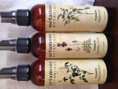 Lovely distilled Hydrosol Toners: BULGARIAN ROSE, LAVENDER GROSSO AND PEPPERMINT  www.metamourskincare.com
