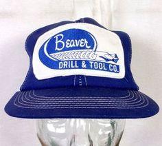 vtg 70s 80s MINT K-Products Beaver Drill & Tool Co. Snapback Trucker Hat Cap