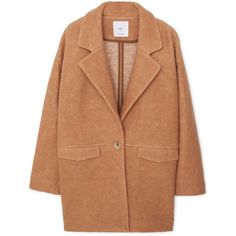MANGO Lapels Wool Coat (190 BRL) ❤ liked on Polyvore featuring outerwear, coats, jackets, coats & jackets, lapel coat, long sleeve coat, woolen coat, wool coat and beige wool coat
