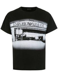 Emporio Armani Logo Print T-shirt - Farfetch Emporio Armani, Basic Yoga Poses, Armani Logo, Cotton Logo, Black Cotton, Size Clothing, Shop Now, Women Wear, Short Sleeves