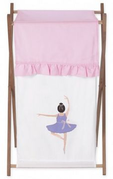 Ballerina Hamper The hamper features a satiny ballerina applique and a pleated pink flap over the top. A mesh bag inside makes it easy to whisk the laundry away. #littlegirlsroom #teelieturner http://www.teelieturner.com/