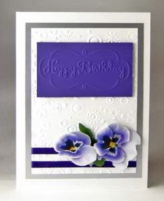 Card Making Project Purple & White Embossed Card