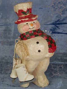 Snowman with skates.......Photo via ebay