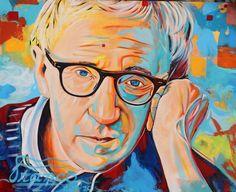 Original painting Woody Allen  Acrylic  Pop Art 48 x 60 in. Pop-Art PopArt by Alexander Franco