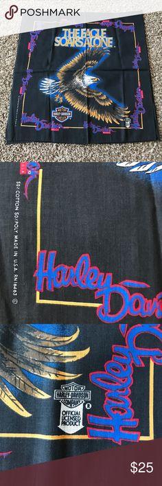 "Vintage Harley Davidson bandana ""The eagle soars alone"" dooooooooope. Never worn, still crisp. Official licensed product by Harley Davidson. Finally letting some stuff go, enjoy. Harley-Davidson Accessories"
