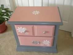Hand painted bedside table using chalk style paint with a clear wax. Plantation Clay for the top and drawers and Classic Gray for the body. A little stenciling for a touch of whimsy. Mary's Garden of Refinished Treasures  www.facebook.com