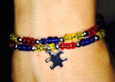 Autism/glass beads/small puzzle charm