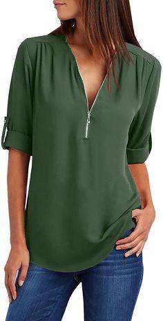 Yidarton Damen Blusen Chiffon Langarm Tunika mit Reißverschluss Vorne V-Ausschnitt Oberteile T-Shirt (Grün, Medium): Amazon.de: Bekleidung
