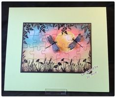 Jigsaw wall art using Clarity stamps.
