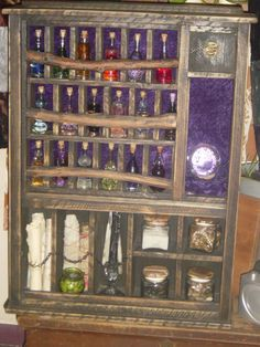 Looks like a Potions kit. All students must have their ingredients for Potions class; this is how Belle organizes hers. Larp, Potion Bottle, Practical Magic, Book Of Shadows, Witchcraft, Magick Spells, Crafty, Inspiration, Alchemy