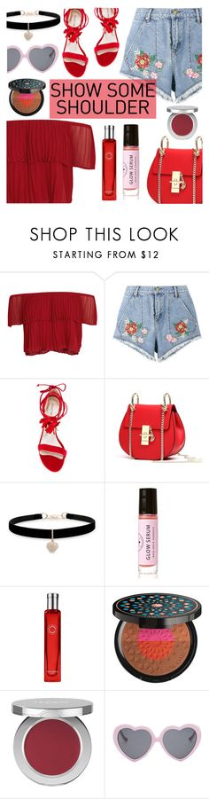 Shimmy, Shimmy: Off-Shoulder Tops by dora04 on Polyvore featuring Keepsake the Label, House of Holland, Stuart Weitzman, Betsey Johnson, Vans, Lancôme, The Honest Company, Hermès, Birchrose + Co. and showsomeshoulder