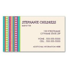 Download a free printable business card fill in your details on the shop colourful stripes babysitting business card created by katparrella personalize it with photos text or purchase as is wajeb Image collections