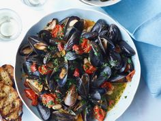 Mussels with White Beans and Chorizo | Adding white beans to mussels makes this a hearty, substantial meal; the chorizo here makes it appealingly smoky, too.