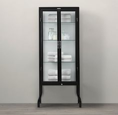 Pharmacy Bath Tall Cabinet Black - storage. maybe replace glass with obscured option