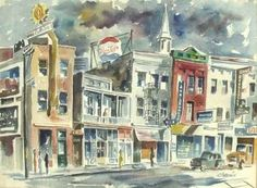 """Chevis Clark """"Broad Street Charleston"""" late (watercolor) x City Streets, The Hamptons, Watercolor Art, Gallery, Charleston, Artist, Favorite Things, Painting, Watercolor Painting"""