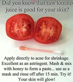 Acne Remedies tomato-juice-acne-remedy - Do it yourself acne cures; Natural remedies to clear up zits using food products found in your kitchen; Hacks, tips, tricks to get clear skin; Beauty Care, Diy Beauty, Beauty Skin, Beauty Ideas, Face Beauty, Beauty Advice, Star Beauty, Luxury Beauty, Beauty Box