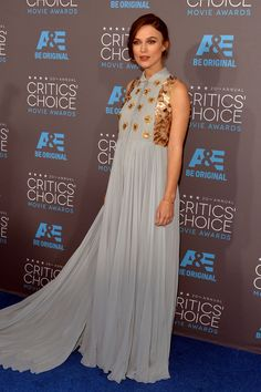 Stung by critics after she wore insect-printed Chanel at the Golden Globes, a pregnant Keira Knightley picked a Peter Pan-collared, gold-embellished powder-blue Delpozo for this event. (Photo: Alberto E. Rodriguez/Getty Images for A&E Network)