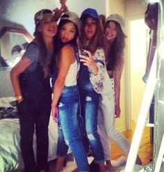 Eleanor, alana, danielle and serena! Dungarees, Overalls, One Direction Girlfriends, Beautiful Girlfriend, Five Guys, Eleanor Calder, Cher Lloyd, Denim Outfit, Louis Tomlinson