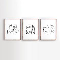 Jobs From Home Discover Stay Positive Work Hard Make it Happen Printable Art Motivational Printable Inspirational Printable Office Decor office art Set of 3 Office Wall Decor, Office Walls, Office Artwork, Office Signs, Work Cubicle Decor, Office Prints, Small Office Decor, Modern Office Decor, Cheap Office Decor