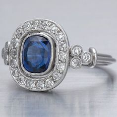 Art Deco diamond and sapphire ring from http://www.faycullen.com/Art-Deco-Rings/7691/