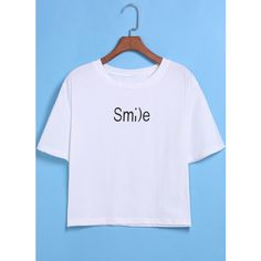 SheIn(sheinside) White Short Sleeve Smile Print Crop T-Shirt ($7.99) ❤ liked on Polyvore