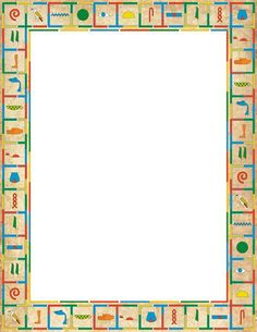 Printable hieroglyphics border. Free GIF, JPG, PDF, and PNG downloads at http://pageborders.org/download/hieroglyphics-border/. EPS and AI versions are also available.