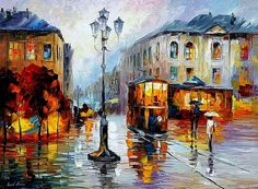 Evening, Trolley On The Square — Palette Knife Rainy City Oil Painting On Canvas By Leonid Afremov. Size: X Inches cm x 60 cm) Popular Paintings, Colorful Paintings, Seascape Paintings, Animal Paintings, Landscape Paintings, Music Painting, Oil Painting On Canvas, Diy Painting, Rainy City