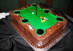 Now that is a cute cake... COOL GROOMS CAKE. For that pool player.