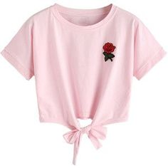 Pink Embroidery Rose Tie Front Short Sleeve T-shirt