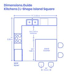 L-Shape Kitchen Islands (Square) are common kitchen layouts that use two adjacent walls to efficiently array kitchen fixtures around a square island. An efficient L-Shape Kitchen Island (Square) has matched lengths of Square Kitchen Layout, L Shape Kitchen Layout, Kitchen Layout Plans, Kitchen Layouts With Island, Stools For Kitchen Island, Kitchen Islands, Small Kitchen Floor Plans, Kitchen Ideas, Kitchen Decor