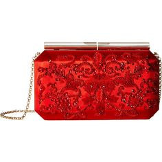 Oscar de la Renta Saya (Red Embroidered Satin) Clutch Handbags (15,640 MXN) ❤ liked on Polyvore featuring bags, handbags, clutches, purses, red, sequin evening bags, man bag, satin clutches, sequin clutches and evening bags