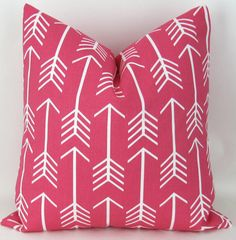 Hot Pink Arrow Pillow Cover -ANY SIZE- Pink Throw Pillow, Euro Sham, Cushion Cover, Candy Pink White Decor, Custom Premier Prints, FREESHIP