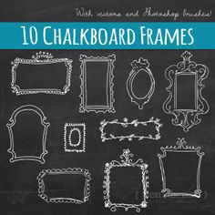 Vector Doodle Frames // Hand Drawn Frames // DIY Wedding Photos // Photo Overlay // Chalkboard // Photoshop Brush Stamp // Commercial Use