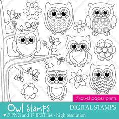 Owl stamps Digital Stamps set by pixelpaperprints on Etsy, $5.00