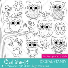 Owl stamps  Digital Stamps set by pixelpaperprints on Etsy, $5.00