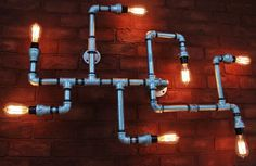 Grand industriel Pipe plafonnier lustre en tube par HanorManor