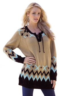 Femininity is redefined in this lace-up plus size #sweater decorated with a bold jacquard pattern at the shoulders and sleeves!   #PlusSize #Fashion #HolidayStyle