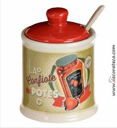 """Azucarero retro """"Confiture"""". Decoración de cocinas retro, vintage - WWW.DECORATECA.COM"""