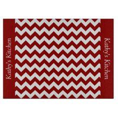 Cherry Red Chevron Glass Cutting Board ..............This design features a Cherry Red Chevron pattern. The TEXT on both sides (left and right) can be customized with your own name. Check out my store for more colors.