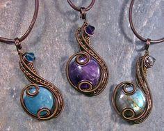 "Customizable Bronze ""Coriolis"" Pendant (U CHOOSE STONE)"