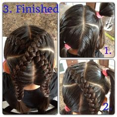 """Little girl braids """"x marks the spot"""" - only not a french braid bc I can't do that! Lil Girl Hairstyles, Natural Hairstyles For Kids, Princess Hairstyles, Pretty Hairstyles, Braided Hairstyles, Hairdos, Teenage Hairstyles, Children Hairstyles, Beautiful Haircuts"""