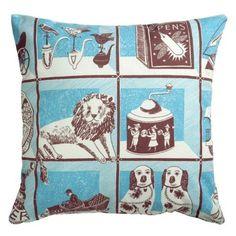 Emily Sutton Curiosity Shop Cushion Cover Maroon/Blue: Amazon.co.uk: Kitchen & Home
