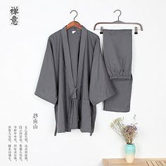 Loose Breathable Cotton Double Gauze Pajamas Suit Tracksu...