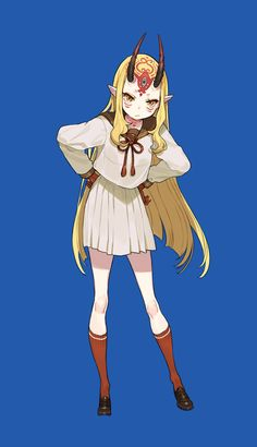 Cute Anime Character, Character Concept, Character Art, Character Design, Concept Art, Ibaraki, Gilgamesh Fate, Monster Girl, Character Illustration