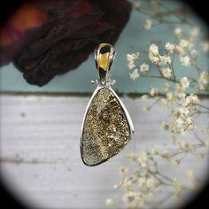 Pyrite Druzy sterling silver pendant