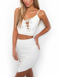 139bca4cd88 Camis Lace Up Dress Women Sexy Bodycon White Casual vestido Two Pieces Set  Crop Top Cropped Boho White High Waist Empire Dresses