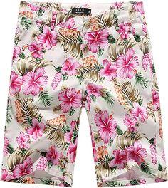 c0f8dd8841 SSLR Men's Flower Mid Rise Flat Front Casual Aloha Hawaiian Shorts (32, Pink )